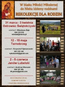 Plakat rekolekcje dla Rodzin
